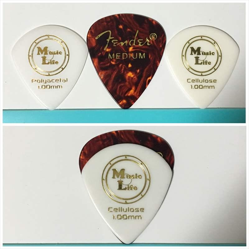 Fender ティアドロップとMLピック(ジャズXL)の比較 【50円】JAZZ XL セルロース ジャズXL ピック  Celllose  【MLピック】