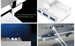 「クランプ固定式USBハブ」が超便利そう!机の端、iMacなどのモニターの使いやすい位置にUSBを設置でき パソコン周りを整理したい人にオススメ!
