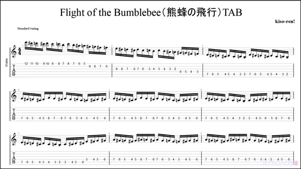 【TAB・動画】絶対弾ける「熊蜂の飛行」の練習方法。ギターで難しい曲のピッキングの練習をして上手くなる!【くまばちのひこう】