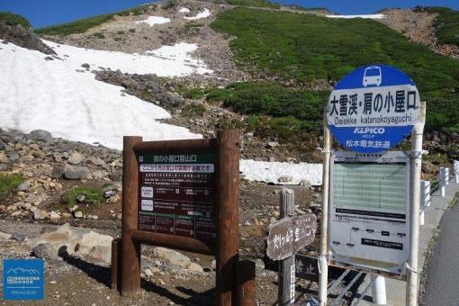 肩の小屋口登山口の看板
