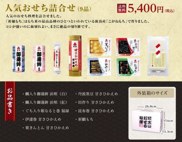 2019 おせち通販 冷蔵(生)おせち 人気 口コミ ランキング 紀文 個別