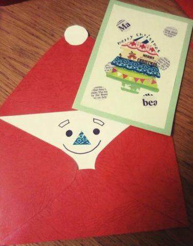 クリスマスカード簡単手作り彼氏におしゃれカードや飛び出す可愛いカードサンタ封筒