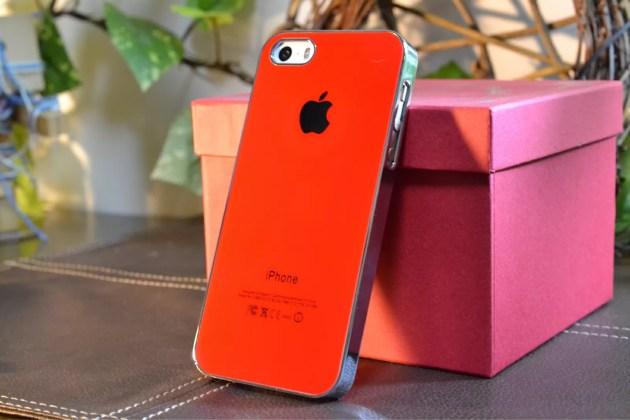 Appleマーク入りのiPhone5sケース装着6