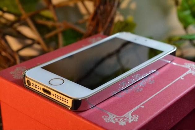 Appleマーク入りのiPhone5sケース装着1