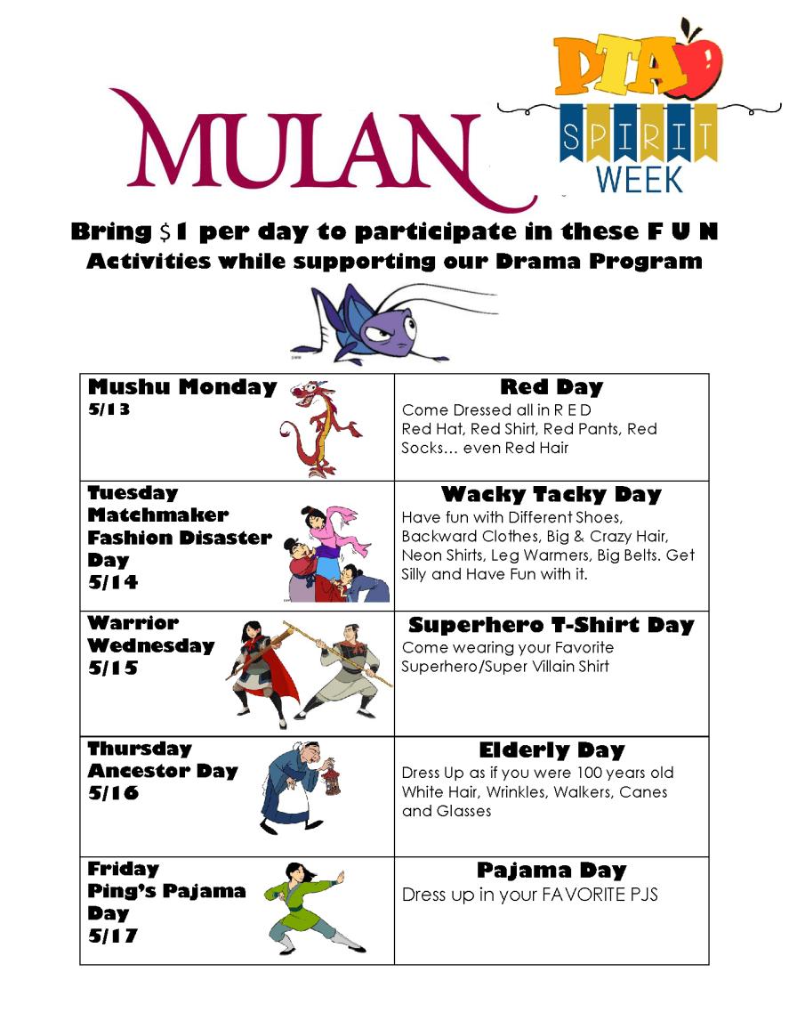 Mulan Spirit Week