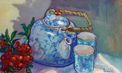 Teapot and Orange Berries