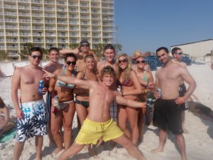 group photo at the pcb beach