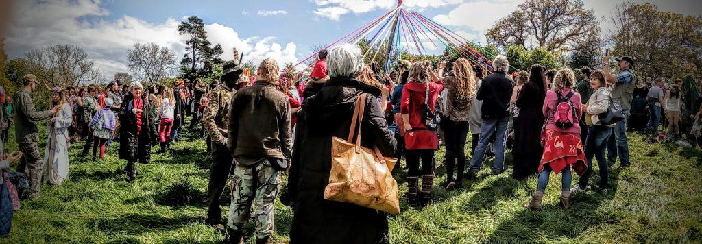 May Day Celebration 2017 on Bushy Coombe, May Pole, Glastonbury