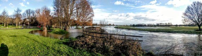 Flooding by Pomparles Bridge, Glastonbury