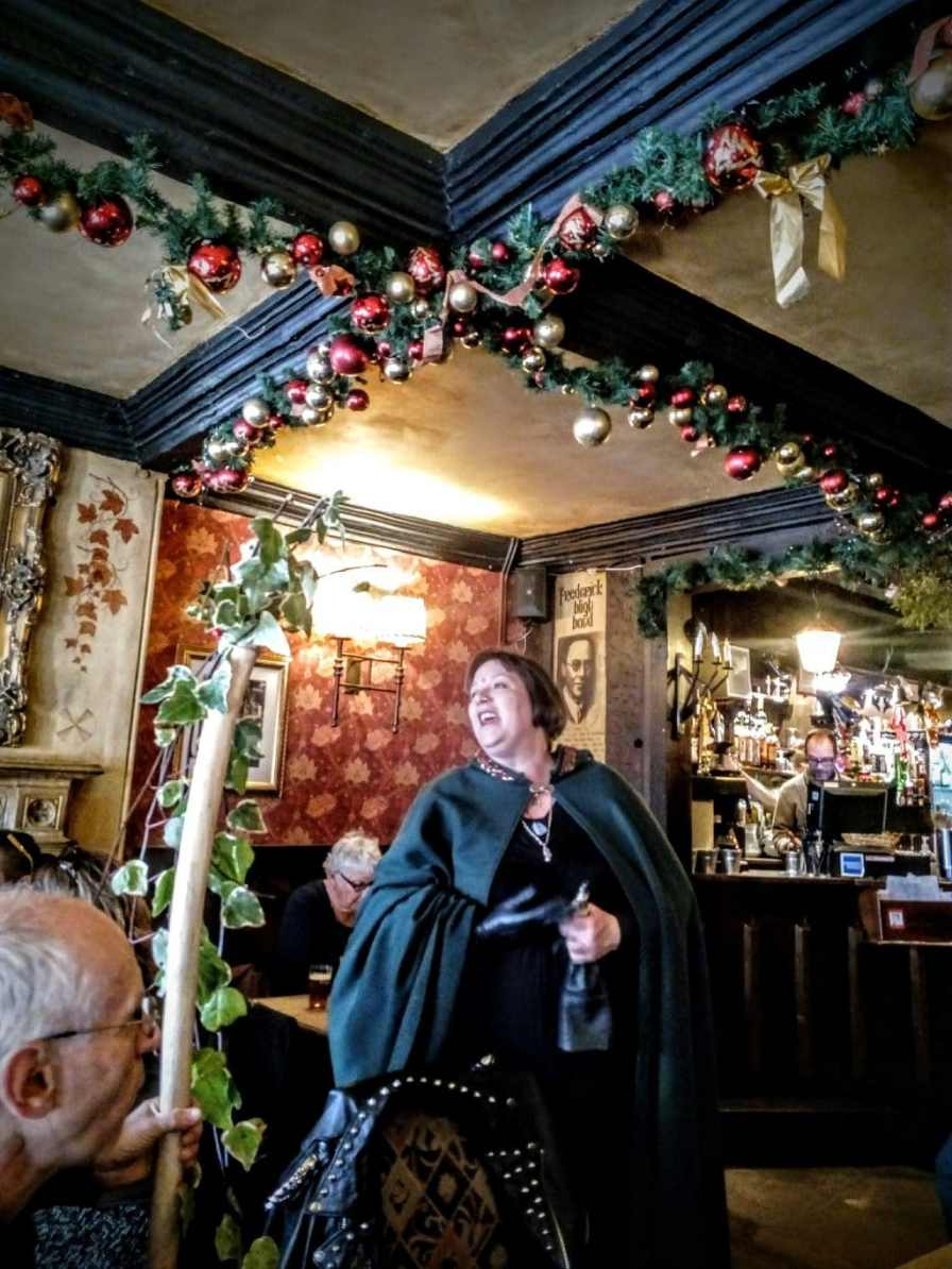 Issa in the George and Pilgrims Inn at Christmas, Glastonbury