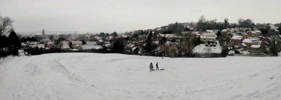 View from Chalice Hill over Glastonbury Town