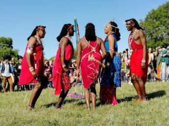 Osiligi Maasai Warriors at Glastonbury Tor