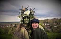 Journalist Peter Ross and the Green Man, Beltane 2018 in Glastonbury