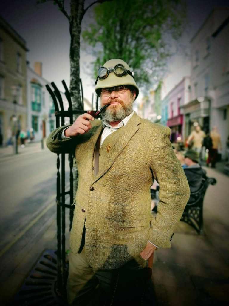 Steven Payne in tweeds in Glastonbury High Street