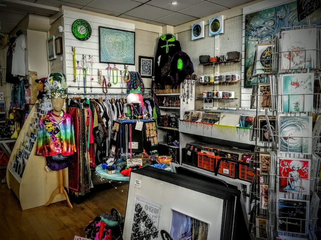 Interior of Rogues Gallery shop in Glastonbury
