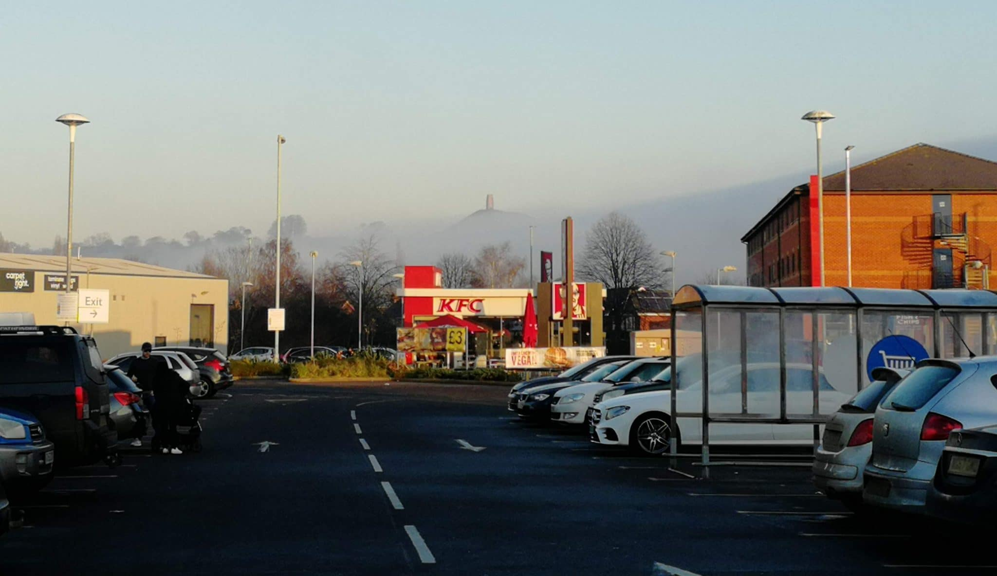 Glastonbury Tor in the Mist from the Industrial estate