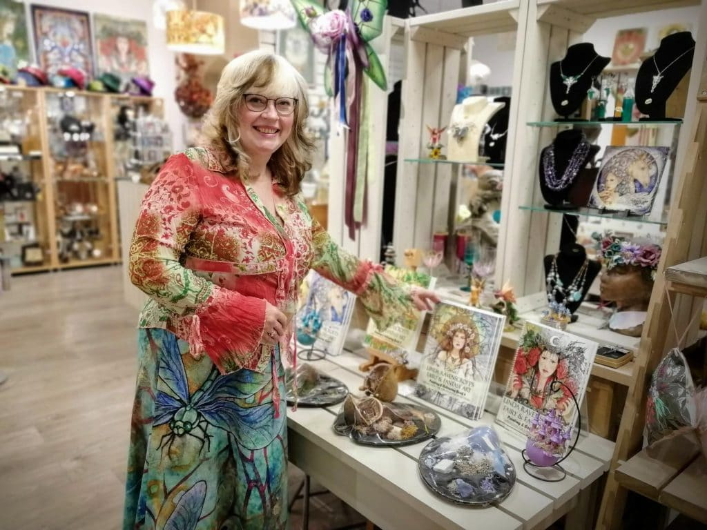 Linda Ravenscroft in her shop The Mystic Garden in Glastonbury Town