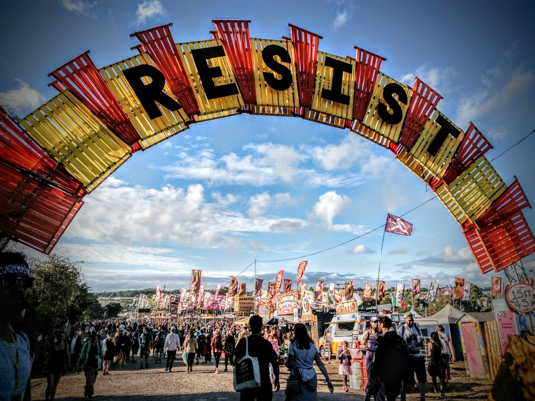 Resist banner at Glastonbury Festival