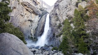 Feeling the mist at Lower Yosemite Falls
