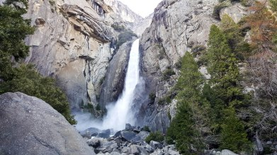 Feeling the power of wind and water at the base of Lower Yosemite Fall