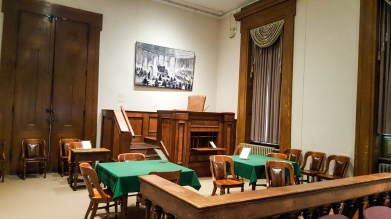 Historical courtroom at the Old Courthouse