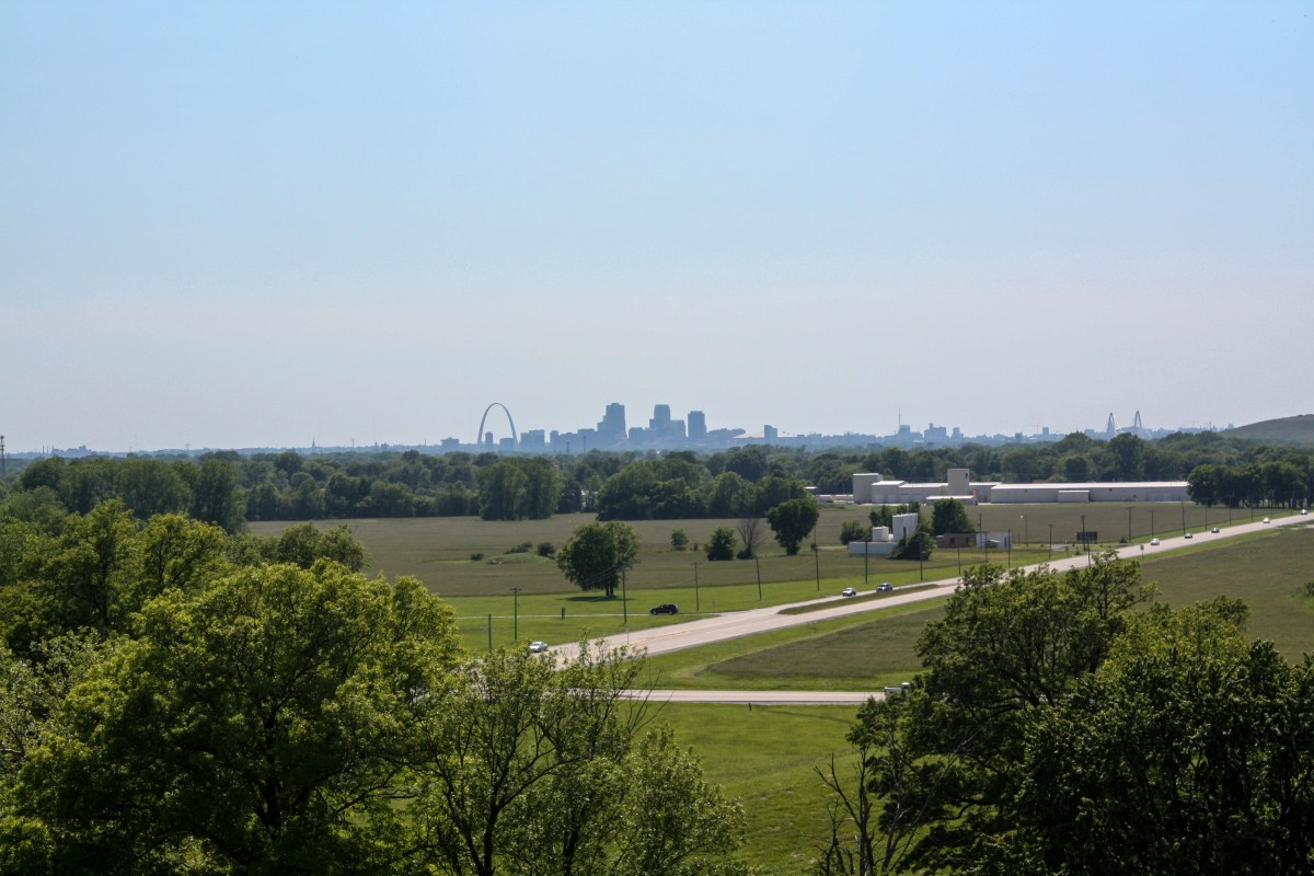 St. Louis skyline from top of Monk's Mound at Cahokia Mounds
