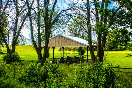 Picnic shelter at borrow pit off of the linear park