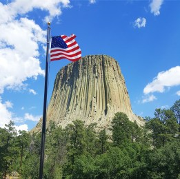 American flag at Devil's Tower
