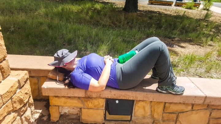 Post hike nap at the Visitor's Center :)