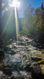 Crossing Little Cottonwood Creek for a photo op