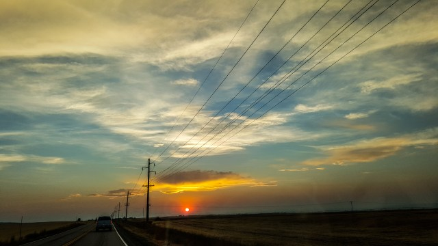 Sunset on the road to Bozeman