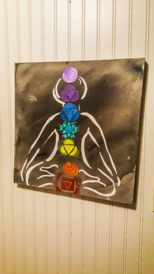 Watercolor chakras. The home owner was a yoga instructor.
