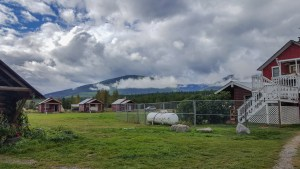 Fluffy clouds over camping area in Montana's Glacier National Park