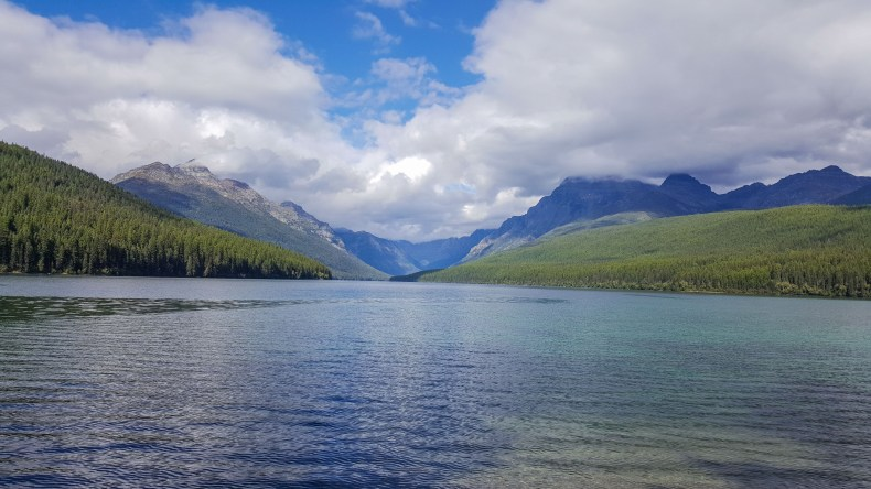 Blue skies and blue water of Bowman Lake