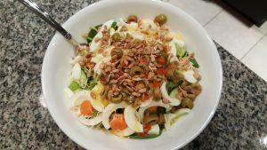 A big bowl of veggies, plus egg whites for protein