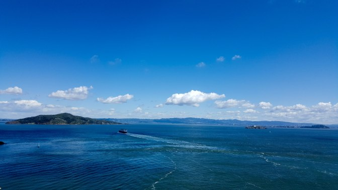 Angel Island, Alcatraz, Treasure Island, Berkeley and San Francisco Bay from the span of the Golden Gate Bridge
