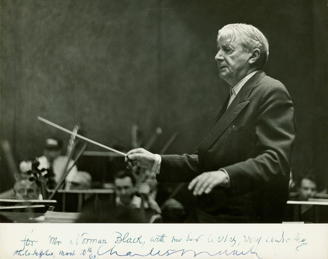 Charles Munch, , Conductor with note to Norman Black