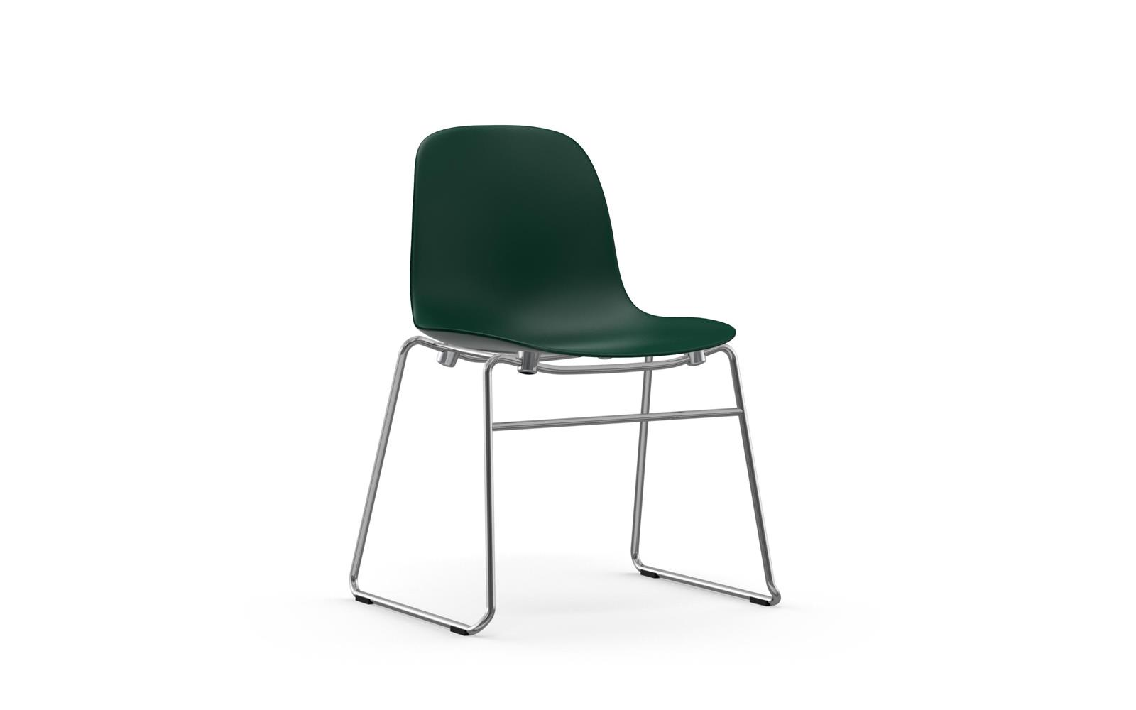 Scandinavian Chair Form Chair Stacking Chrome Green
