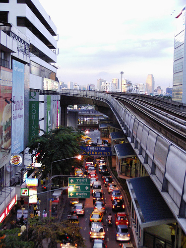 Silom Road during rush hour