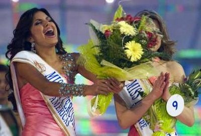 Hannelly Quintero of Venezuela shouts for joy after being announced as Miss Intercontinental 2009