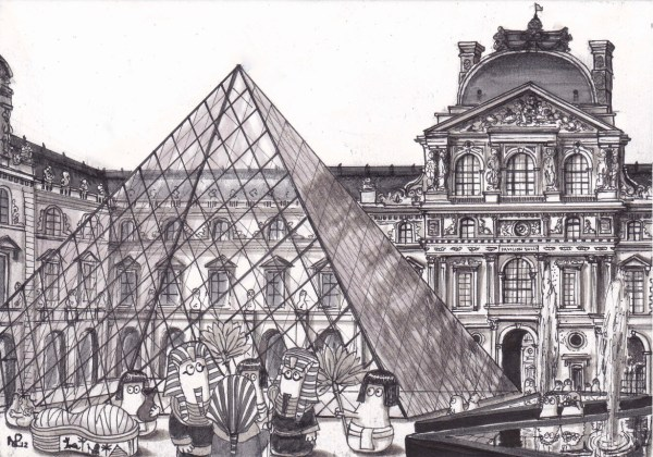 Louvre Pyramid Drawing
