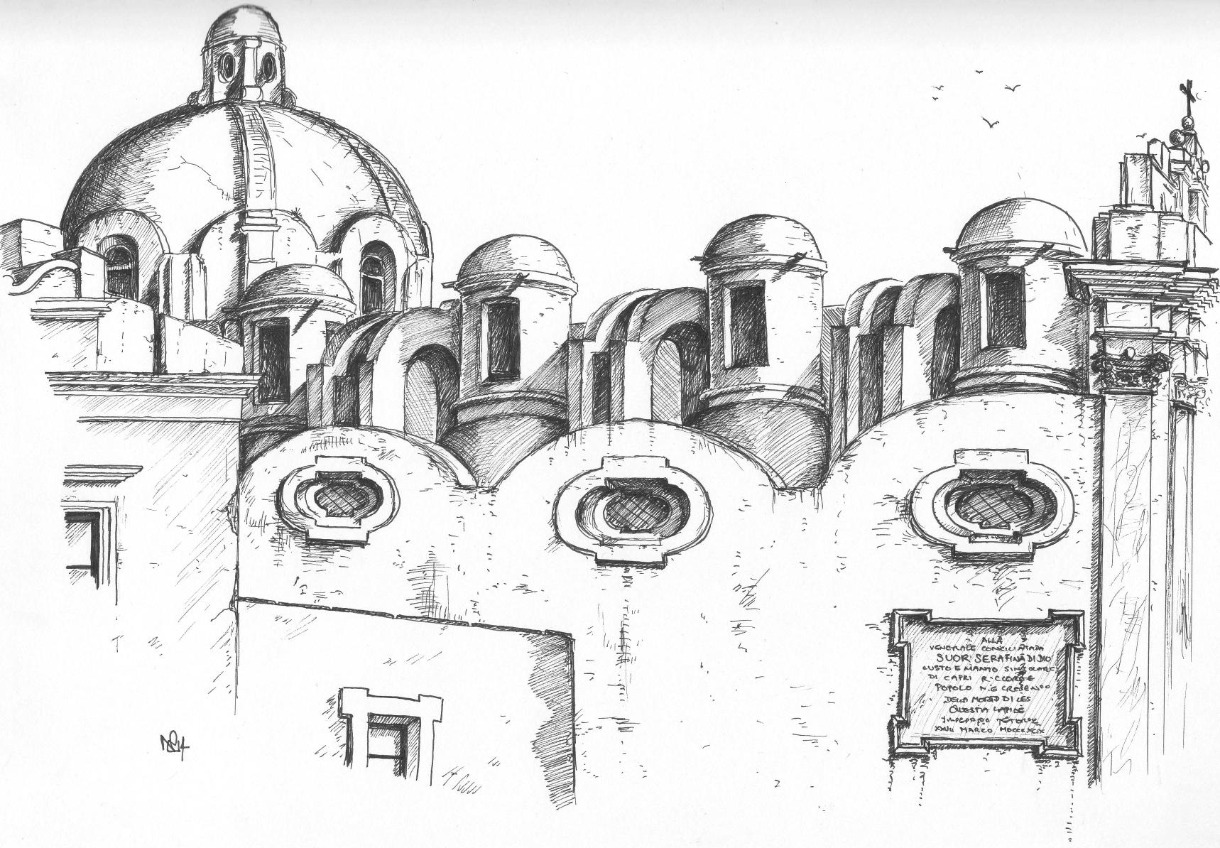 My travel sketchbook: Capri 1– Roof of the Church of Santo