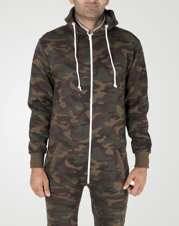 Image 1 of Boys Army Camouflage Hooded Onesie Color Army Camo and sizes 7-8, 9-10, 11-12, 13 from Noroze