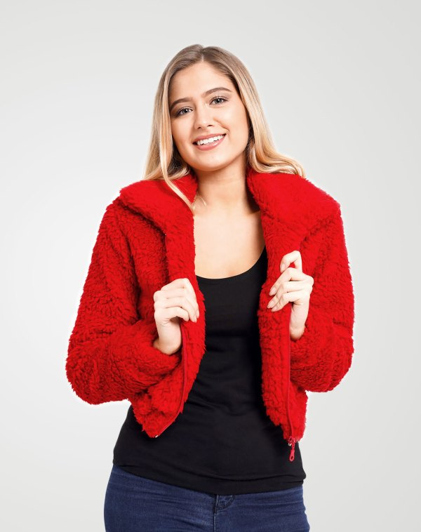 Image 1 of Womens Cropped Teddy Faux Fur Jacket color Red and sizes 8,10,12 from Noroze