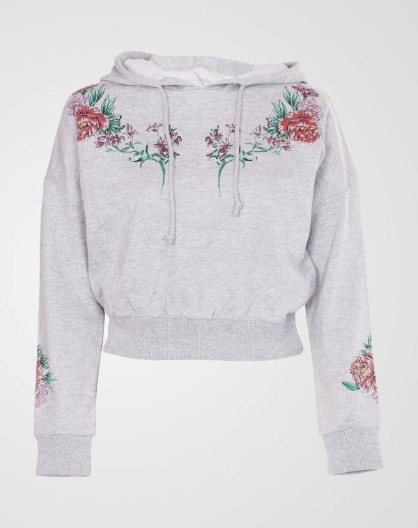 Image 1 of Womens Floral Print Crop Hoodie color Grey and sizes 8, 10, 12, 14 from Noroze