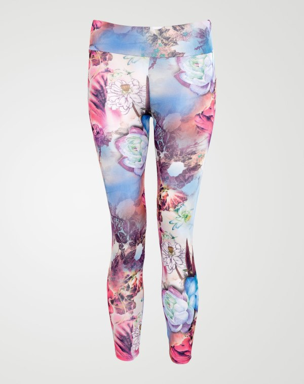 Image 1 of Girls Floral Print Leggings color Sky-Blue and sizes 7-8 yrs, 9-10 yrs, 11-12 yrs, 13 yrs from Noroze
