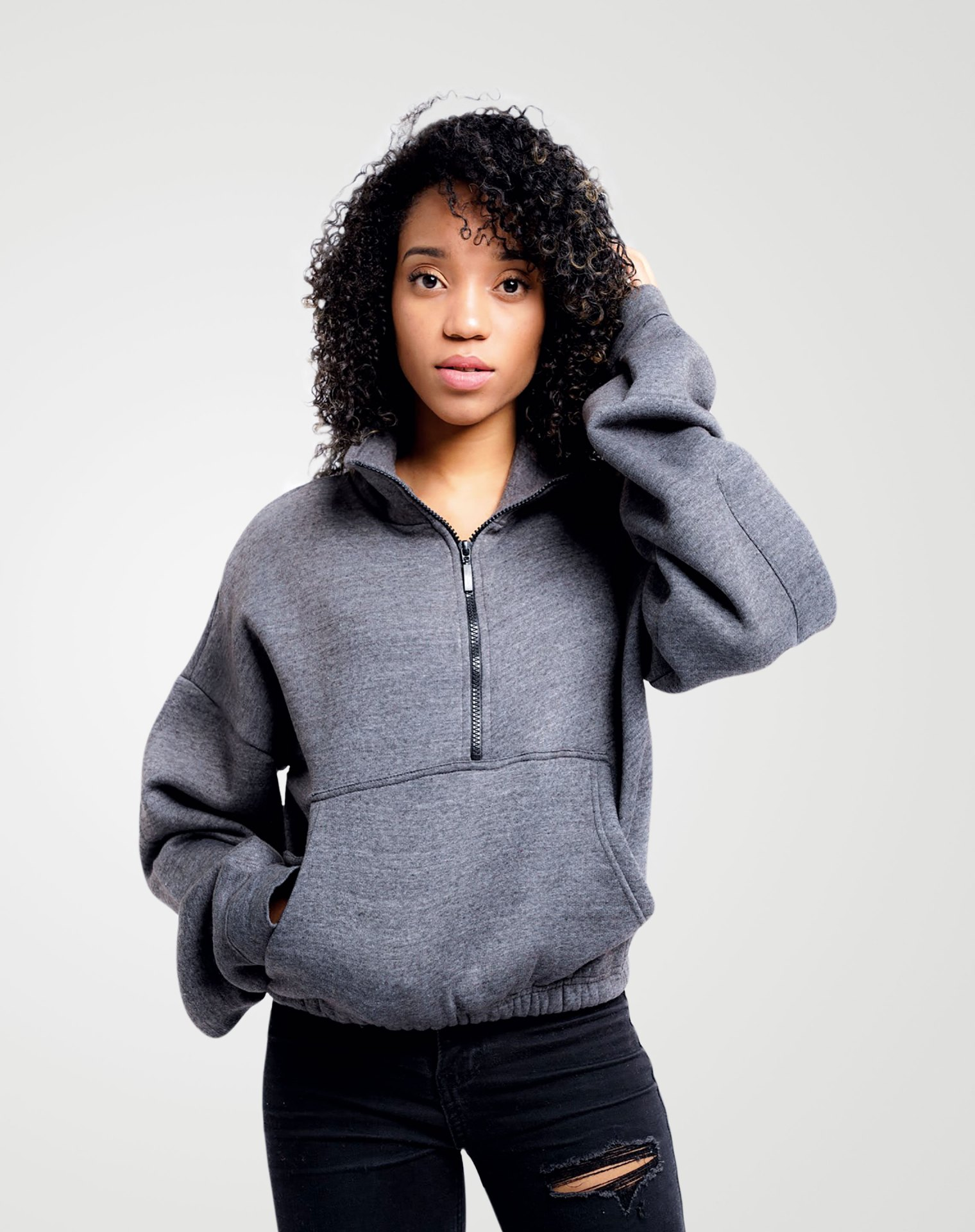 Image 1 of Womens High Neck Crop Top Zipper Pullover color Grey and sizes 8,10,12 from Noroze