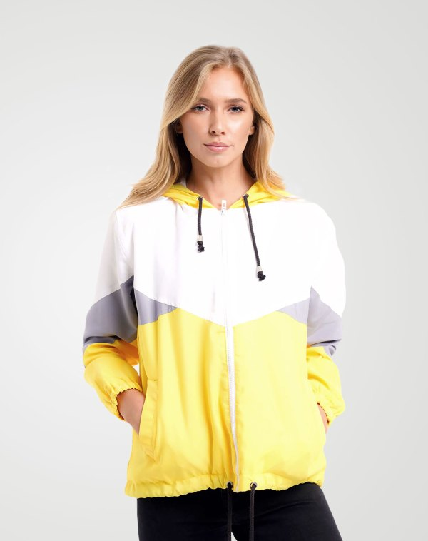 Image 1 of Womens Contrast Block Windbreaker Jacket color Yellow and sizes XS, S, M, L, XL from Noroze