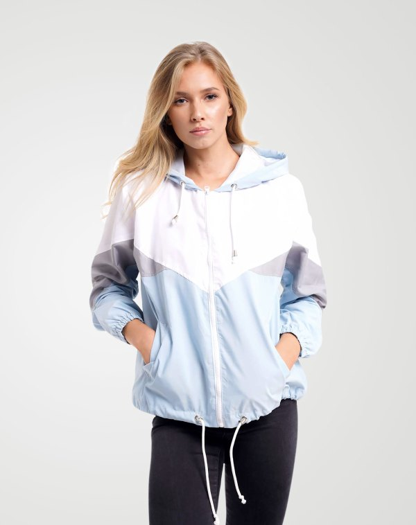 Image 1 of Womens Contrast Block Windbreaker Jacket color Blue and sizes XS, S, M, L, XL from Noroze