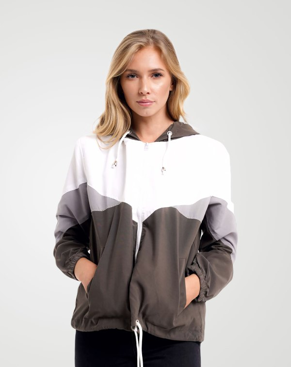 Image 1 of Womens Contrast Block Windbreaker Jacket color Khaki and sizes XS, S, M, L, XL from Noroze
